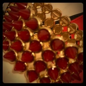 Vintage red / gold tone spiky bracelet